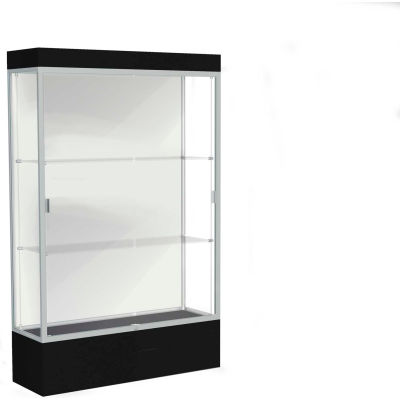 "Edge Lighted Floor Case, White Back, Satin Frame, 12"" Black Base, 48""W x 76""H x 20""D"