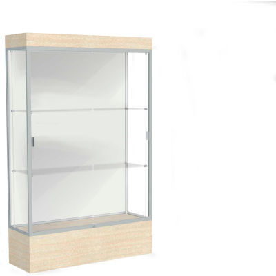 "Edge Lighted Floor Case, White Back, Satin Frame, 12"" Chardonnay Base, 48""W x 76""H x 20""D"