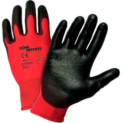 Zone Defense™ Red Nylon Shell Coated Gloves, Black Poly Palm Coat, Large - Pkg Qty 12