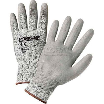 Touch Screen Gray PU Palm Coated Speckle Gray HPPE Gloves, Medium - Pkg Qty 12