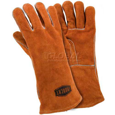 Ironcat Select Shoulder Split Cowhide Welding Gloves, Brown, Large, All Leather - Pkg Qty 12