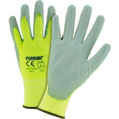 Touch Screen Hi Vis Yellow Nylon Shell Coated Gloves, Gray PU Palm Coat, Large - Pkg Qty 12