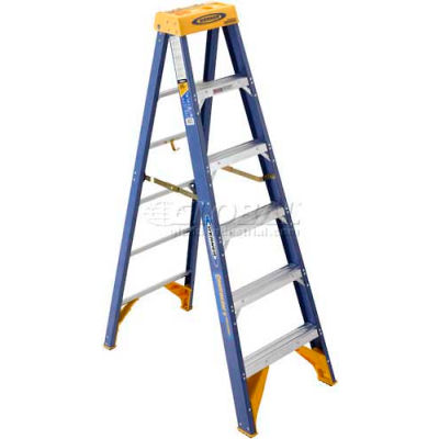 Werner 6' Type 1AA Fiberglass Contractor JobStation Ladder 375 lb. Cap - OBCN06