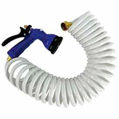 "Whitecap 15' White Coiled Hose w/Nozzle & 3/4"" Male/Female Brass Fittings  - P-0440"