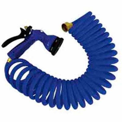 """Whitecap 50' Blue Coiled Hose w/Nozzle & 3/4"""" Male/Female Brass Fittings - P-0442B"""