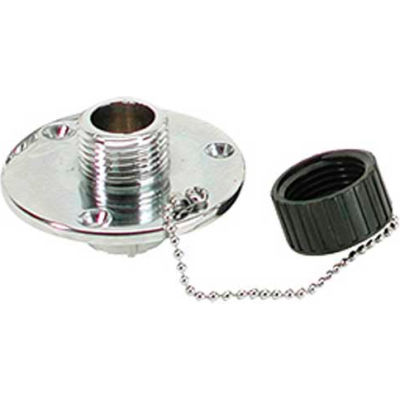 """Whitecap 3/4"""" GHT x 1/2"""" IPT Raw Water Washdown Round Outlet, Chrome Plated Brass - P-2454"""