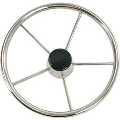 """Whitecap 13-1/2""""Dia. Destroyer Steering Wheel w/Blk Cap, 5 Spoke w/Cast Hub, Stainless Steel- S-9001"""