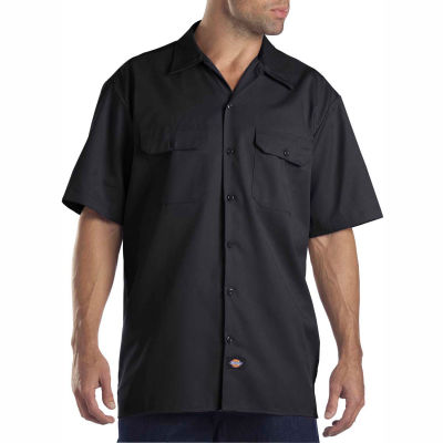 Dickies® Men's Short Sleeve Work Shirt, L Black - 1574BK