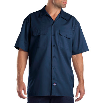 Dickies® Men's Short Sleeve Work Shirt, L Navy - 1574NV