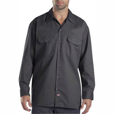 Dickies® Men's Long Sleeve Work Shirt, L Charcoal - 574CH