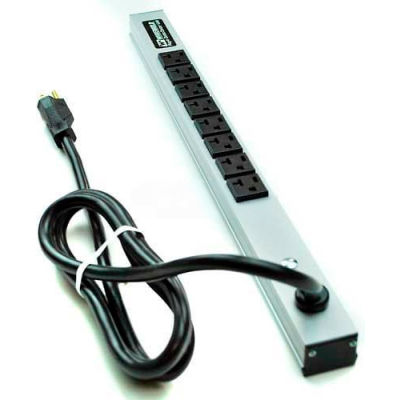 Wiremold CabinetMATE Power Strip, 8 Outlets, 20A, 6' Cord
