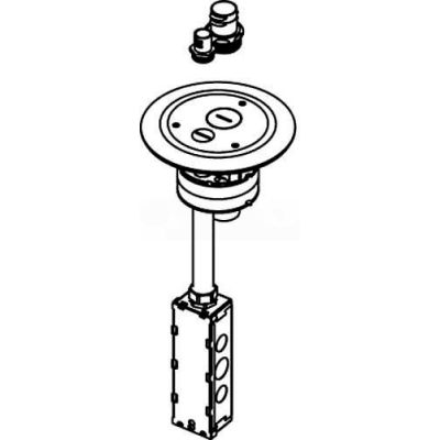 "Wiremold 4FFATC15BS Poke-Thru Assembly, 4"" Feed, Flush, Brass"