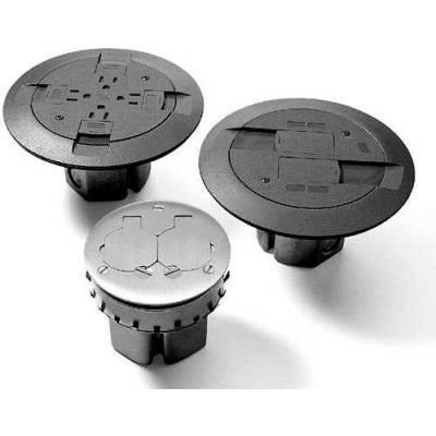 Wiremold 861FFTCBK Raised Floor/Wood Floor Box Assembly, Single Service Furniture Feed, Black