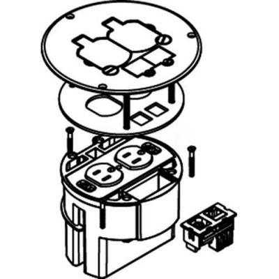 Wiremold 863DPCOMAL Floor Box, W/15A Duplex Receptacle, Brushed Aluminum Cover