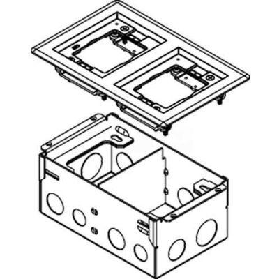 Wiremold 880W2827B Floor Box 2-Gang Floor Box, With 827B Brass Flange