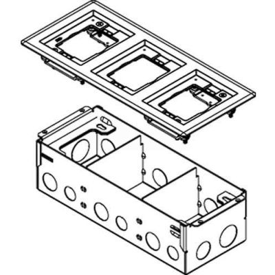 Wiremold 880W3838TCAL Floor Box 880W3 Series Box W/3 Gang 838TCAL, Aluminum Cover