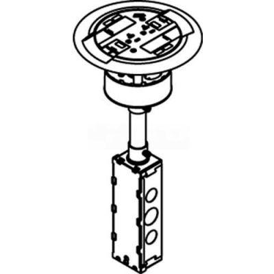 Wiremold RC3ATCGY Poke-Thru Flange & Non-Metallic Slide Holder, Assembled Unit, Flush, Gray