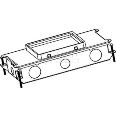 Wiremold RFB2 2-Compartment Stamped Steel Recessed Box W/Tunnel,1 Duplex Bracket, 1 Comm Bracket