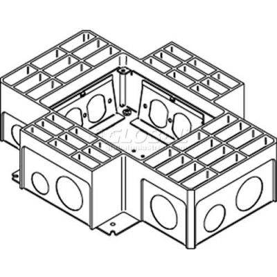 Wiremold RFB4-4DB Floor Box 4-Compartment Stamped Recessed Box W/4 Duplex Receptacle Brackets, Steel