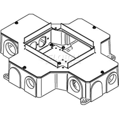 Wiremold RFB4-CI-1 Floor Box 4-Compartment Recessed Box W/2 Receptacle Brackets, Cast Iron