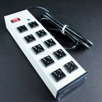 """Wiremold UL210BD Multi-Outlet Power Unit, 125V, 15A, 13""""L, 10 Outlets, 15' Cord"""