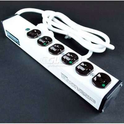 """Wiremold ULBH6-15 Multi-Outlet Power Unit, 13-1/4""""L, 6 Outlets, 15' Cord"""