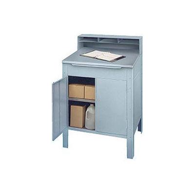 "Winholt Cabinet Shop Desk RDSWNSS-5 Pigeonhole Riser, Stainless 32-1/2""W x 30""D x 53""H - Gray"