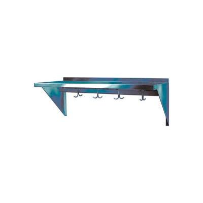 "Stainless Steel Wall Mounted Shelf, 15"" x 24"" Shelf with Hooks"