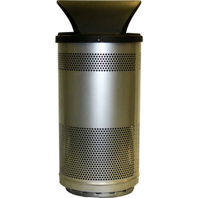 Stadium Series® 35 Gallon Receptacle w/Hood Top Lid, Stainless Steel - SC35-01-SS-HT