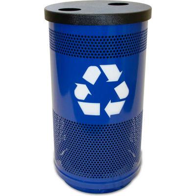Stadium Series® 35 Gal Recycle Unit 1 Hole/1 Slat Flat Top Lid Blue Streak II - SC35-02-BL-FHS