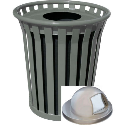 Wydman 36 Gallon Slatted Steel Receptacle w/Dome Top, Silver - WC3600-DT-SLV