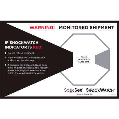 """SpotSee™ ShockWatch® Companion Labels, 8-3/4"""" x 5-3/4"""", Black/Red/White, 200/Roll"""