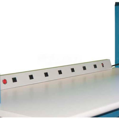 """WSI Electrical Channel EL5-20A, 20A, 8 Outlets, 48"""" Long, Work Surface Mounted, Grey"""