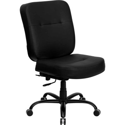 Big and Tall Office Chair - Leather - High Back - Black - Hercules Series
