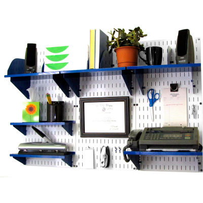 "Wall Control Office Wall Mount Desk Storage and Organization Kit, White/Blue, 48"" X 32"" X 12"""