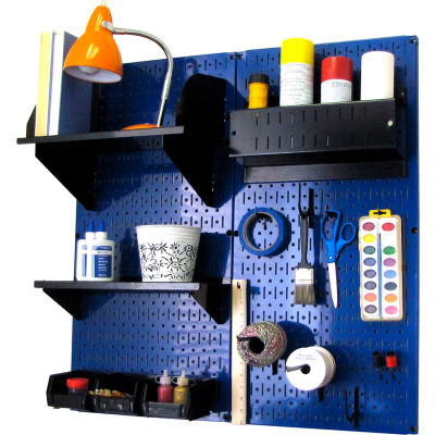 "Wall Control Pegboard Hobby Craft Organizer Storage Kit, Blue/Black, 32"" X 32"" X 9"""