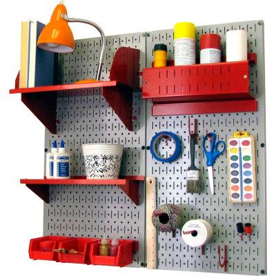 "Wall Control Pegboard Hobby Craft Organizer Storage Kit, Gray/Red, 32"" X 32"" X 9"""