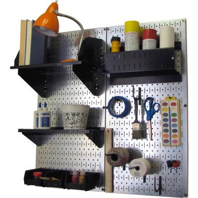 "Wall Control Pegboard Hobby Craft Organizer Storage Kit, Galvanized Black, 32"" X 32"" X 9"""