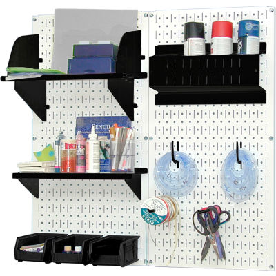 "Wall Control Pegboard Hobby Craft Organizer Storage Kit, White/Black, 32"" X 32"" X 9"""