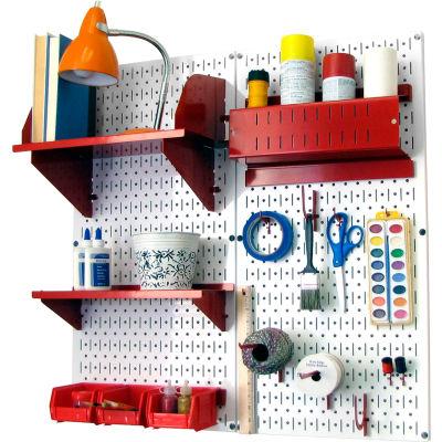 "Wall Control Pegboard Hobby Craft Organizer Storage Kit, White/Red, 32"" X 32"" X 9"""