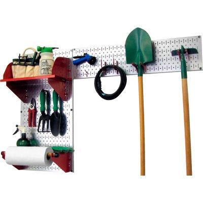 "Wall Control Pegboard Garden Tool Board Organizer, Galvanized Red, 48"" X 32"" X 9"""