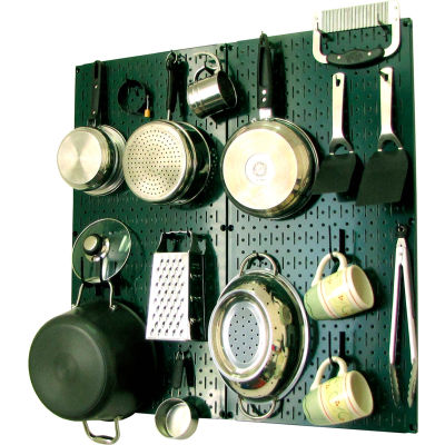 """Wall Control Kitchen Pegboard Pack Storage & Organization Kit, Green/Black, 32"""" X 32"""" X 6"""""""