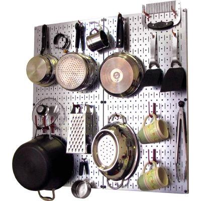 "Wall Control Kitchen Pegboard Pack Storage & Organization Kit, Galvanized Red, 32"" X 32"" X 6"""