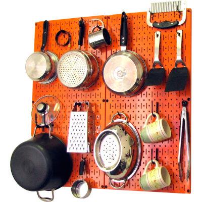 """Wall Control Kitchen Pegboard Pack Storage & Organization Kit, Orange/Black, 32"""" X 32"""" X 6"""""""