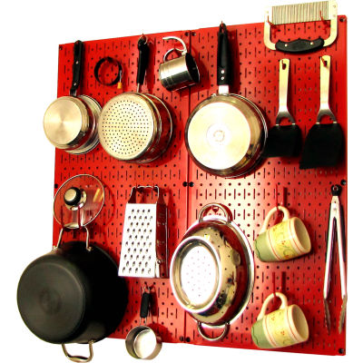 "Wall Control Kitchen Pegboard Pack Storage & Organization Kit, Red, 32"" X 32"" X 6"""