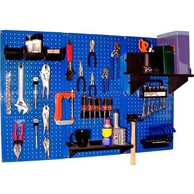 """Wall Control Pegboard Standard Tool Storage Kit, Blue/Black, 48"""" X 32"""" X 9"""""""