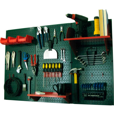 "Wall Control Pegboard Standard Tool Storage Kit, Green/Red, 48"" X 32"" X 9"""