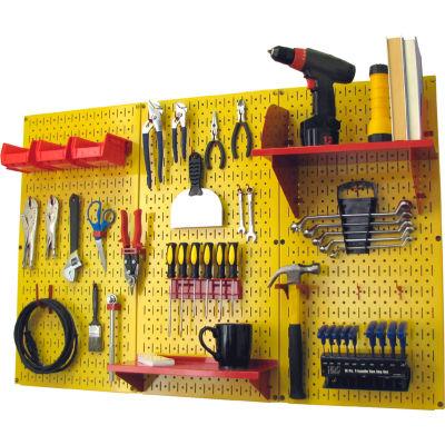 "Wall Control Pegboard Standard Tool Storage Kit, Yellow/Red, 48"" X 32"" X 9"""