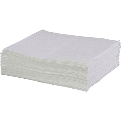 """Global Industrial™ Hydrocarbon Based Oil Sorbent Pad, Medium Weight, 16"""" x 20"""", White,100/Pack"""