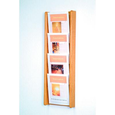 4 Pocket (4H) Acrylic & Oak Wall Display - Light Oak